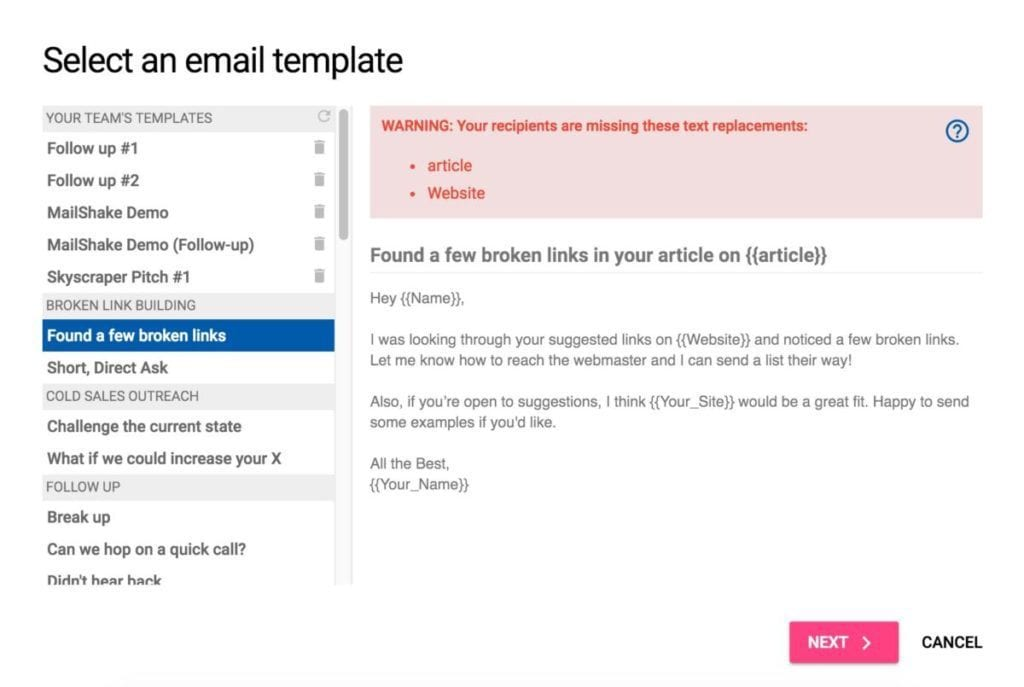 Select template from Mailshake