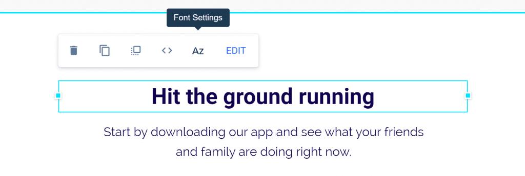 Instapage editing bar