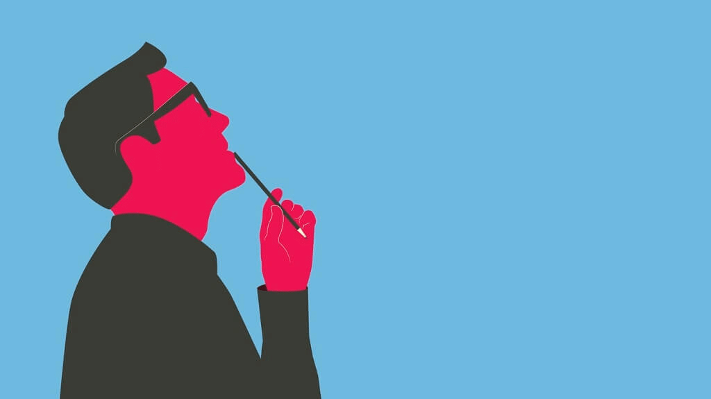 Cartoon of a red man with glasses on a blue background holding a pen to his lips and tilting his head back in thought