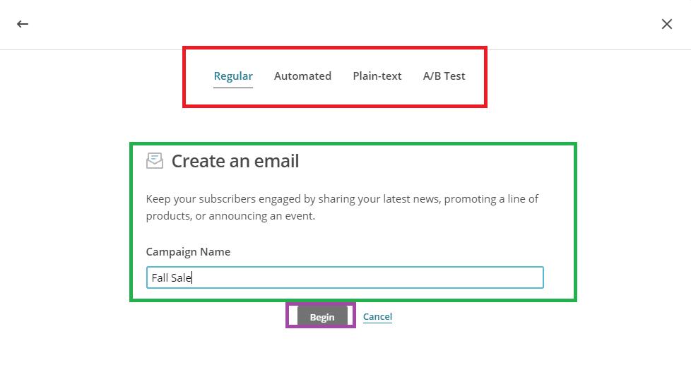 Create mail on Mailchimp