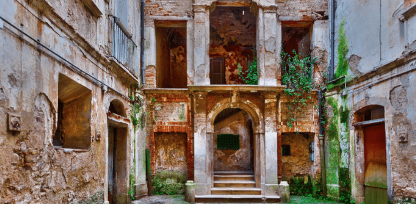 Picture of Italian Courtyard and Ruins of A House Available To Buy For 1 Euro