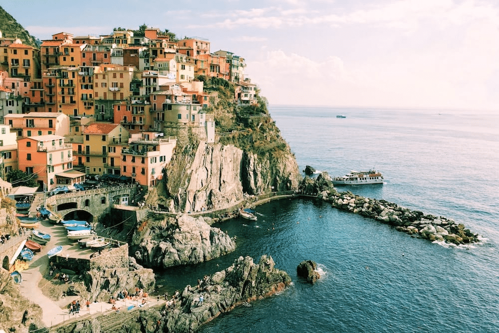 Picture of the coast in Italy with sea and rocks