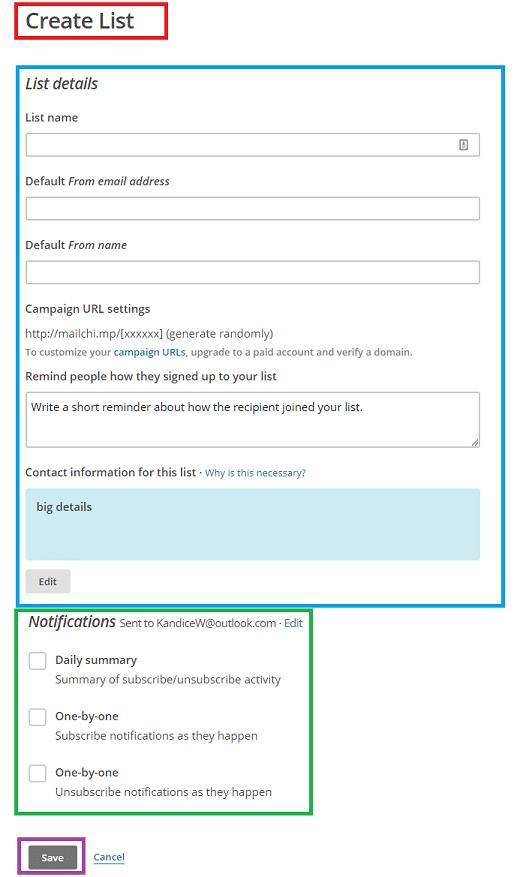Create list on Mailchimp
