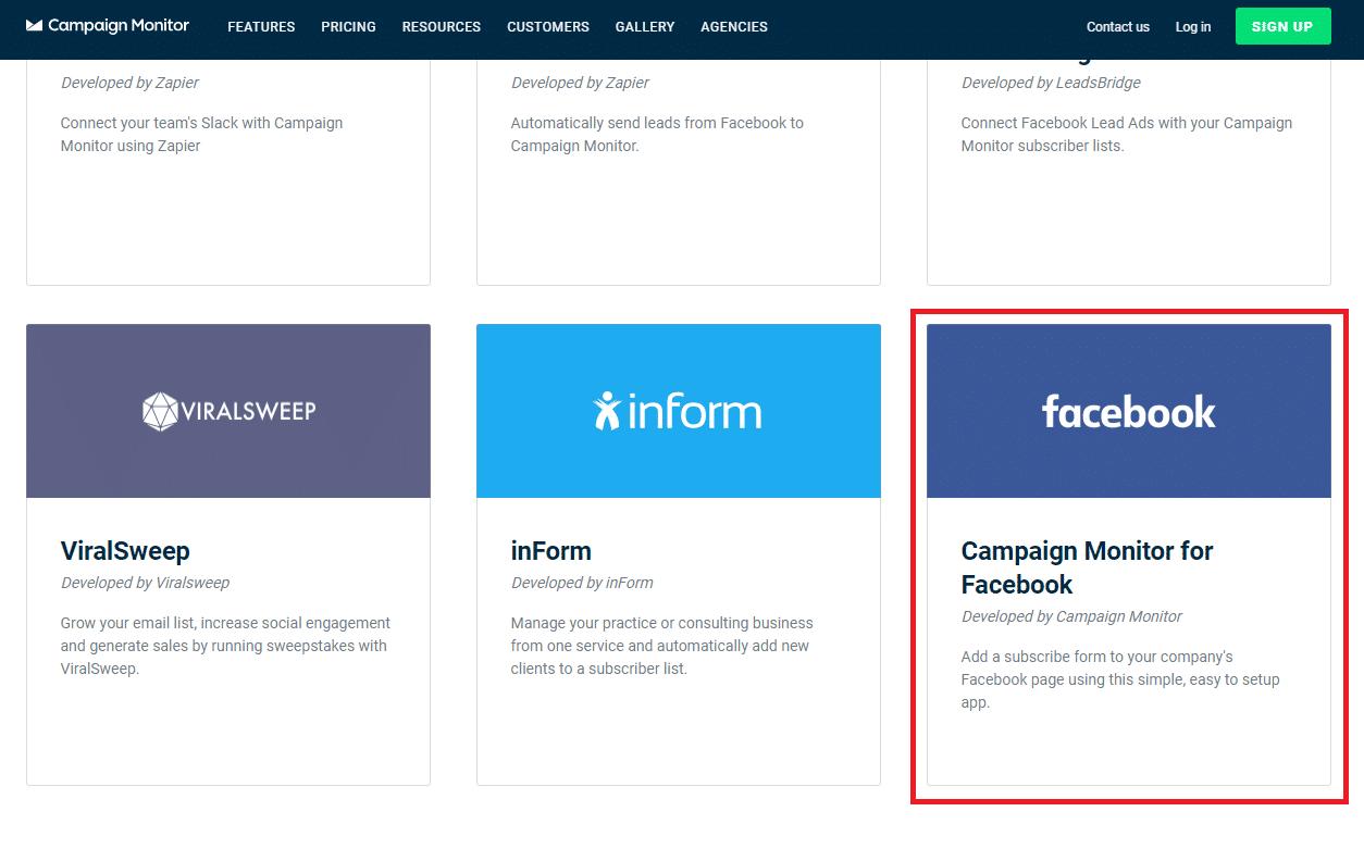 Select Facebook