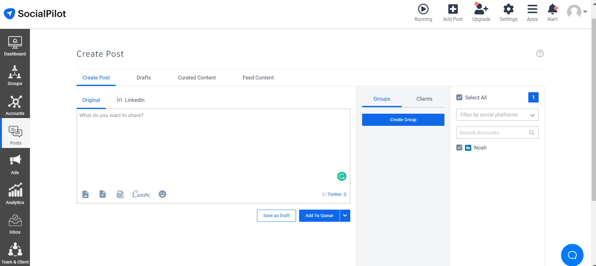 Create Group on SocialPilot