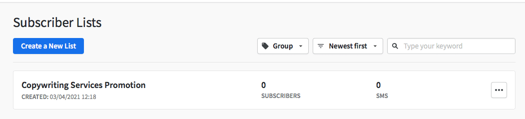Subscriber Lists