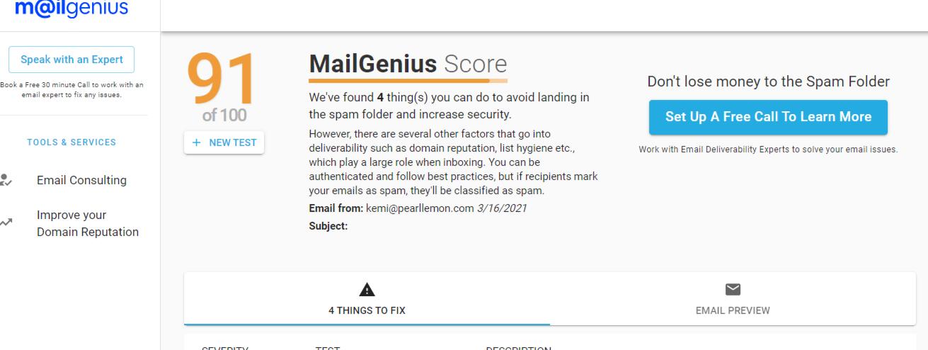 MailGenius Score