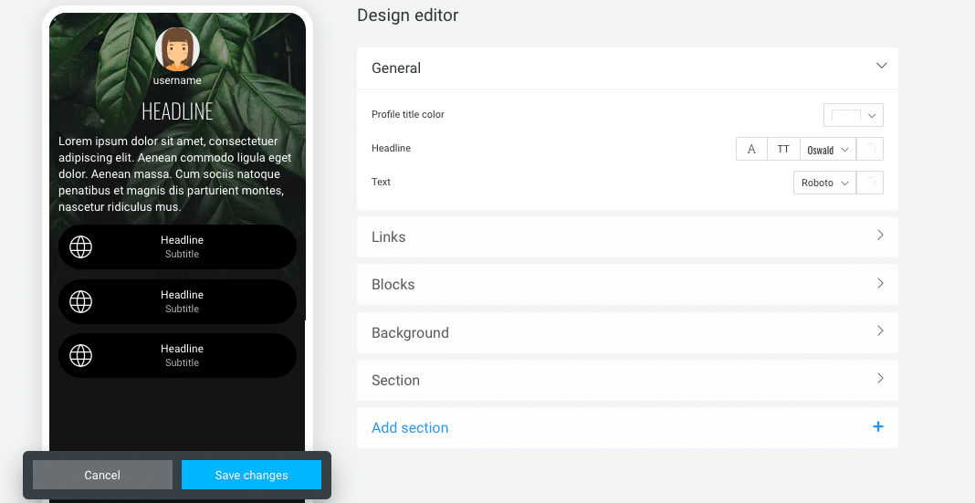 Design Edit Section
